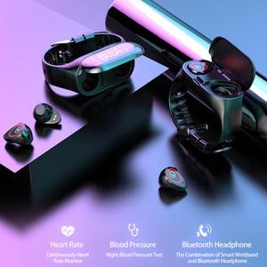 Image 2 - M1 Wireless Bluetooth Kopfhörer mit Herz Rate Monitor Stereo Ohrhörer Bass Headset Sport Smart Uhr Armband Kopfhörer