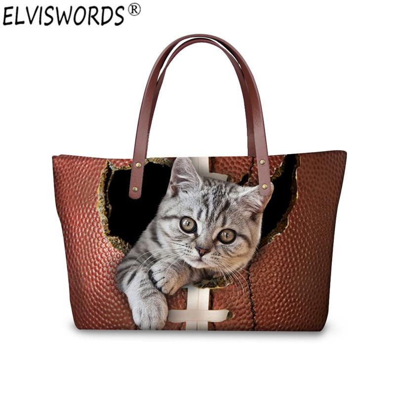 ELVISWORDS Women Handbags 3D Leather Cat Printing Women Shoulder Bags Lady Tote Female Handbag Girls Large Messenger Bags Gifts elviswords cute animal cat dog printing