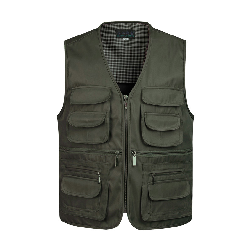 Men Multi-Pocket Classic Waistcoat  Work Vest Photographer Tactical Masculino Jacket  Male Sleeveless Unloading Solid Coat