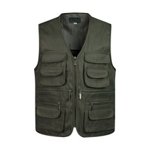 Men Multi Pocket Classic Waistcoat  Work Vest Photographer Tactical Masculino Jacket  Male Sleeveless Unloading Solid Coat