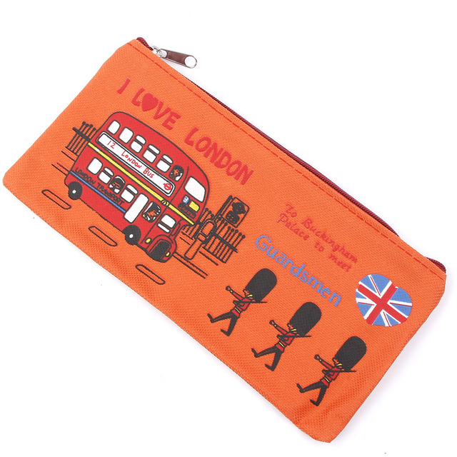 London style Pencil Pen Case Cosmetic Makeup Bag Pouch Holder Women Cosmetic Bags Fresh purse zipper Coin case Free Shipping Cosmetic Bags