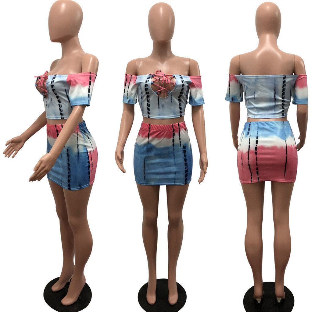 women off shoulder slash neck lace up top sexy mini bodycon skirt suit 2 pieces set beach tracksuit outfit 5 color dress R6061 in Women 39 s Sets from Women 39 s Clothing