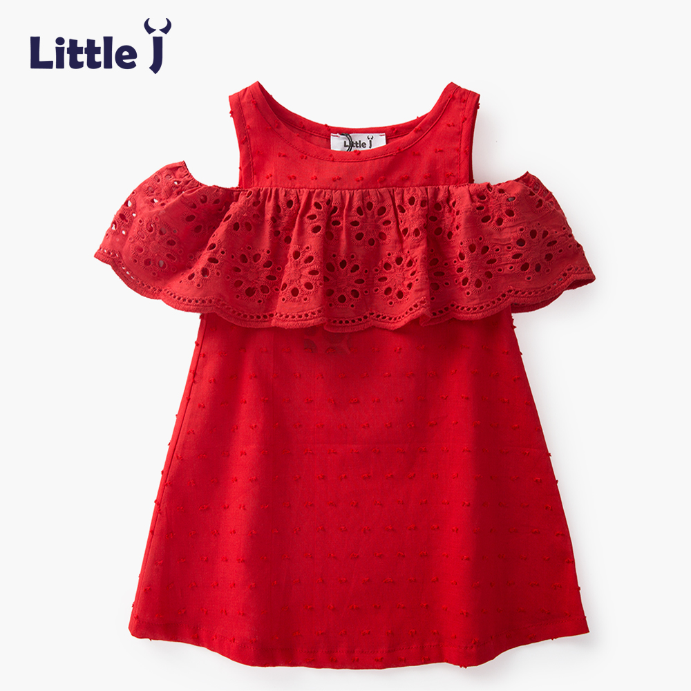 Little J 100% Cotton Girls Red Off Shoulder Dress Toddler Hollow Lace Dresses Cute Casual Children Summer Dress Kids Clothes