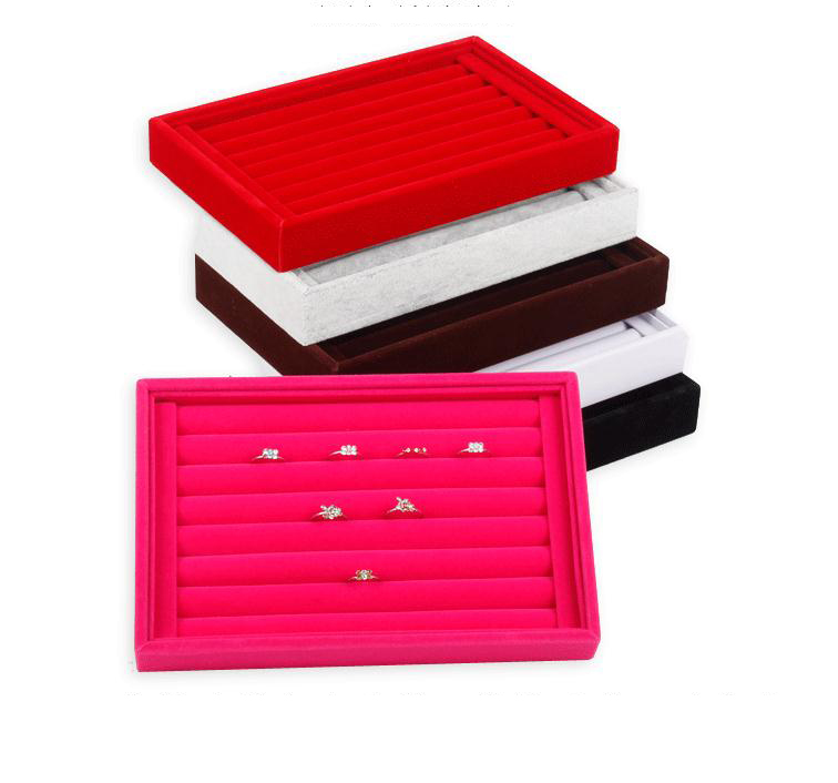 2pcs Velvet Suede Ring Earrings Organizer Ear Studs Jewelry Display Stand Holder Rack Showcase Plate Jewelry Box