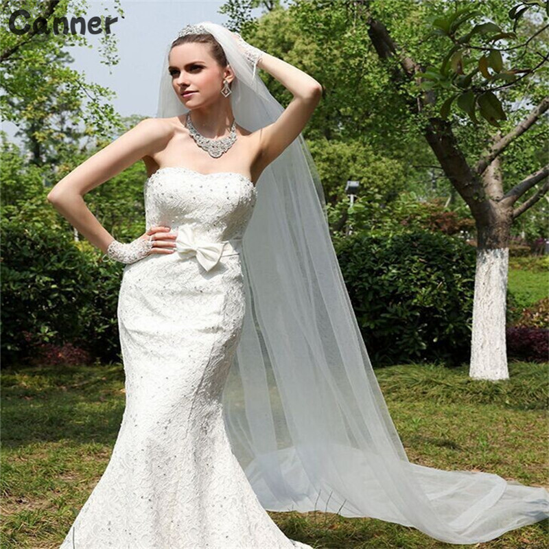 Canner 2M White/Ivory Wedding Veil One-layer Long Bridal Headwear Veil With Comb Wedding Accessories