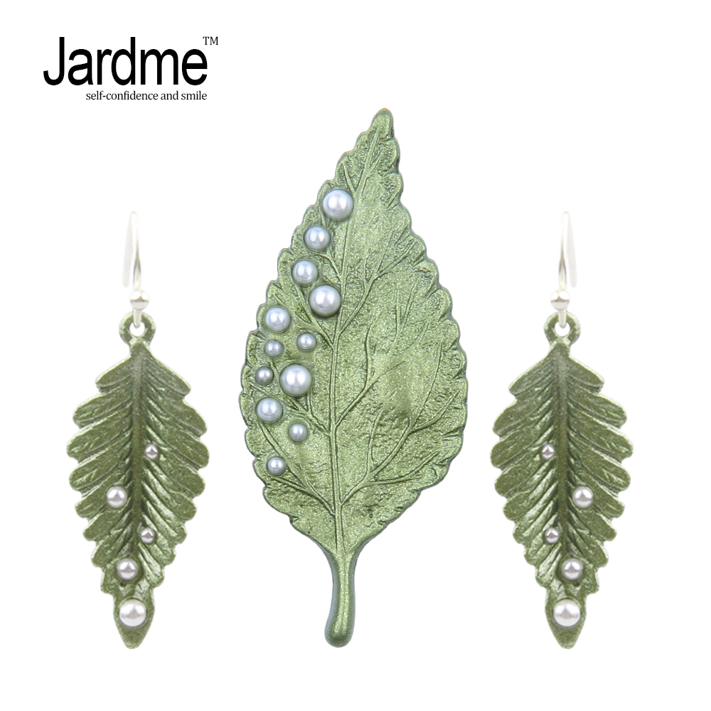 Jardme Vintage Green Leaf Jewelry Sets Brooch and Earrings Pearl Indian Jewelry Vintage Party or Mom Gift Apparel Accessories