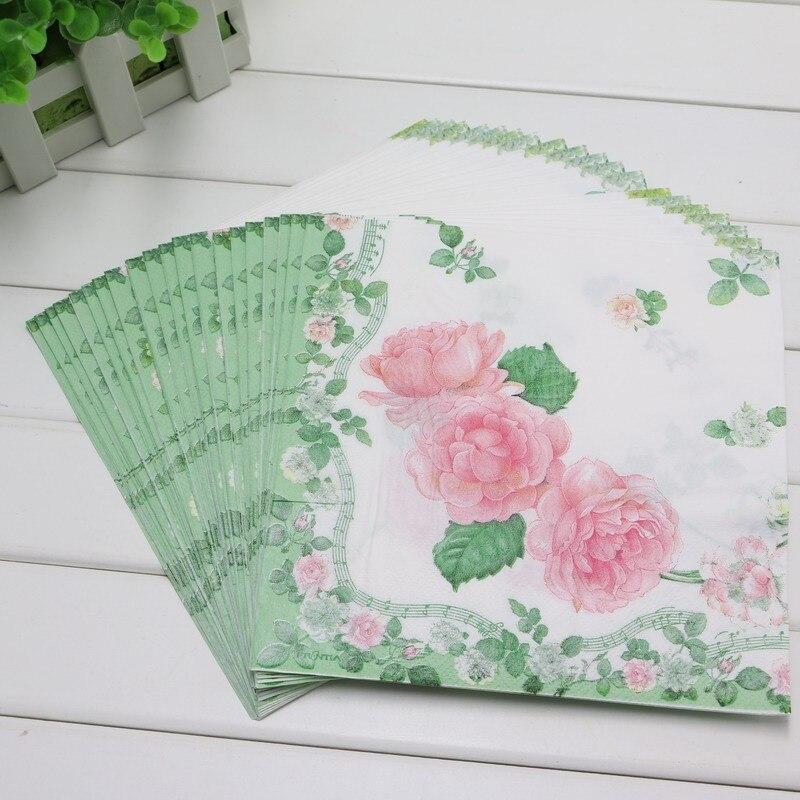 Happy Birthday Baby Shower Kids Favors Flower Printing Paper Napkins