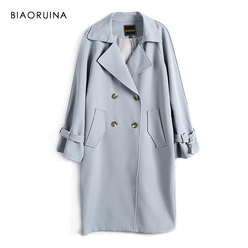 BIAORUINA Women England Style Solid Double Breasted Long   Trench   Coat with Sash Notched Collar Women's Elegant Straight   Trench