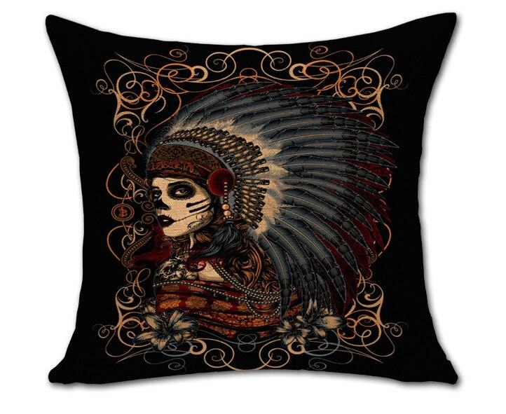 Veren Kussen 13 : De heks indian chief prinses veren decoratieve skeleton cool