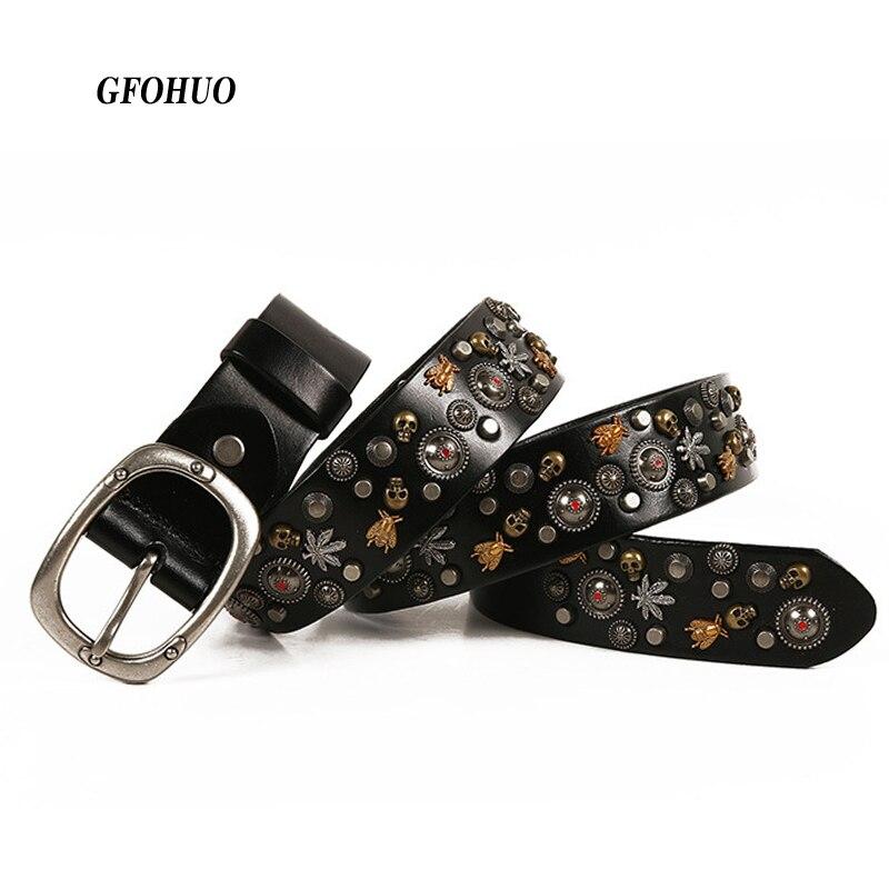 Top Layer Luxury Designers Unisex Genuine Leather Belts Men Alloy Pin Buckle Rivets Belt Women s