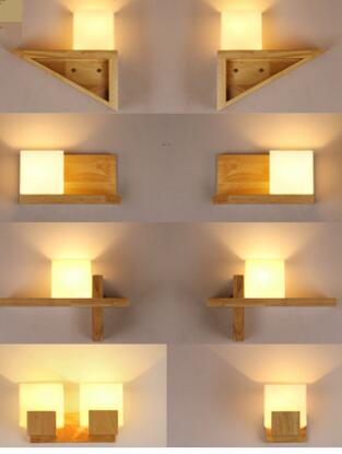 Solid wood wall lamp. Simple living room lamp. Bedroom bedside lamp. Hall decoration lamp.
