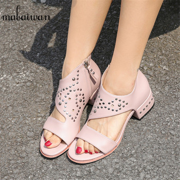 Mabaiwan Fashion Summer Women Sandals Square Heel Gladiator Dress Shoes Woman Rivets Genuine Leather Shallow Peep Toe Sandalias