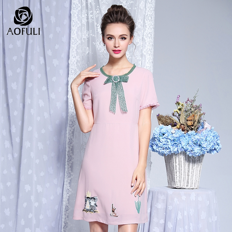 AOFULI L XXXL 4XL 5XL Diamond Lace Bow Tie Dress Summer Plus Size Sweet Pink Dress