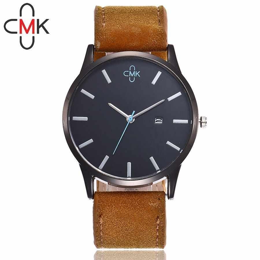 ff7138a65ff7 Горячие ЦМК бренд Для мужчин военные часы Роскошные Для Мужчин s Наручные часы  кожаный ремешок Календарь кварцевые