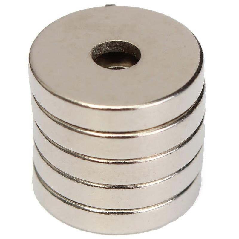 5pcs Countersunk Ring Hole 4mm Round 15mmx3mm Neodymium
