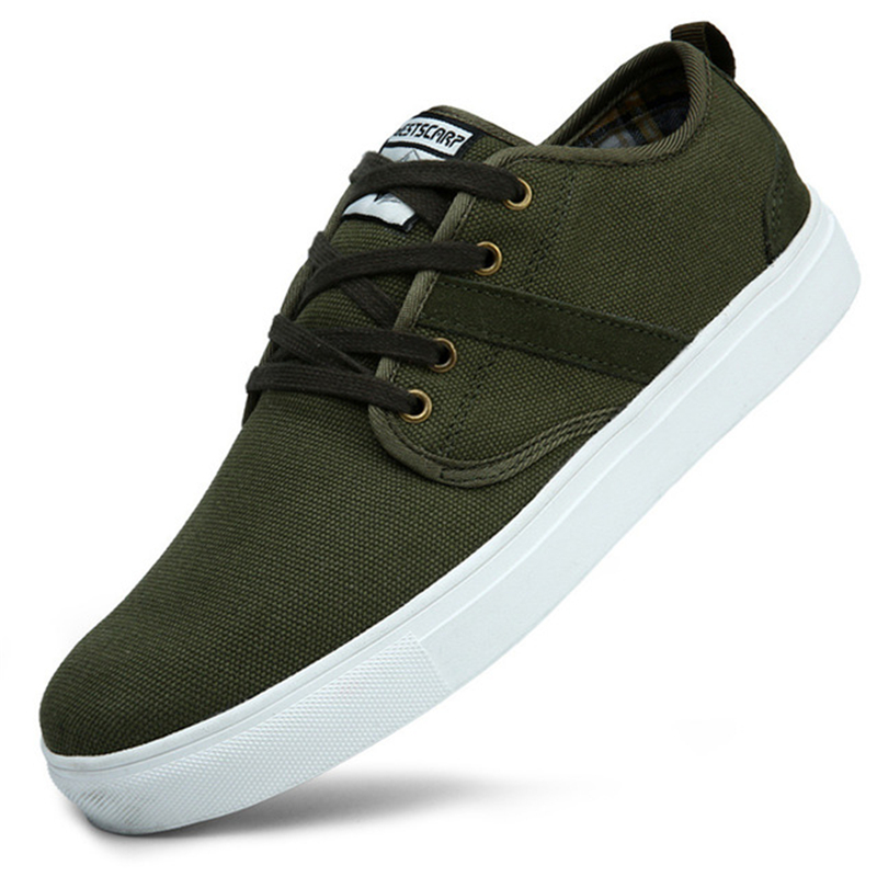 ФОТО Quality Men Canvas Shoes Army Green Casual Shoes Plimsolls Low Top Flat Trainers Male Footwear Espadrilles Zapatillas XK032216