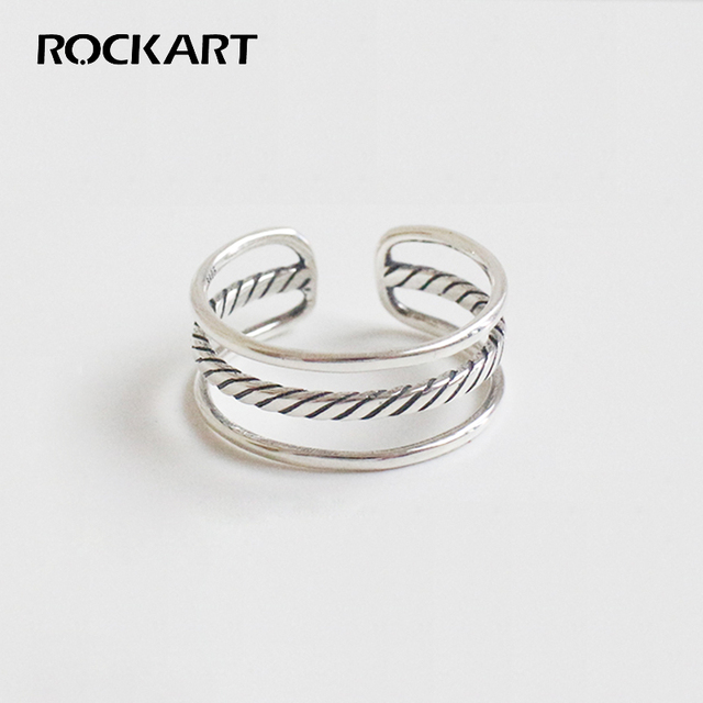 ROCKART Standard 925 Sterling Silver Rings Simple Twill Retro Three ...