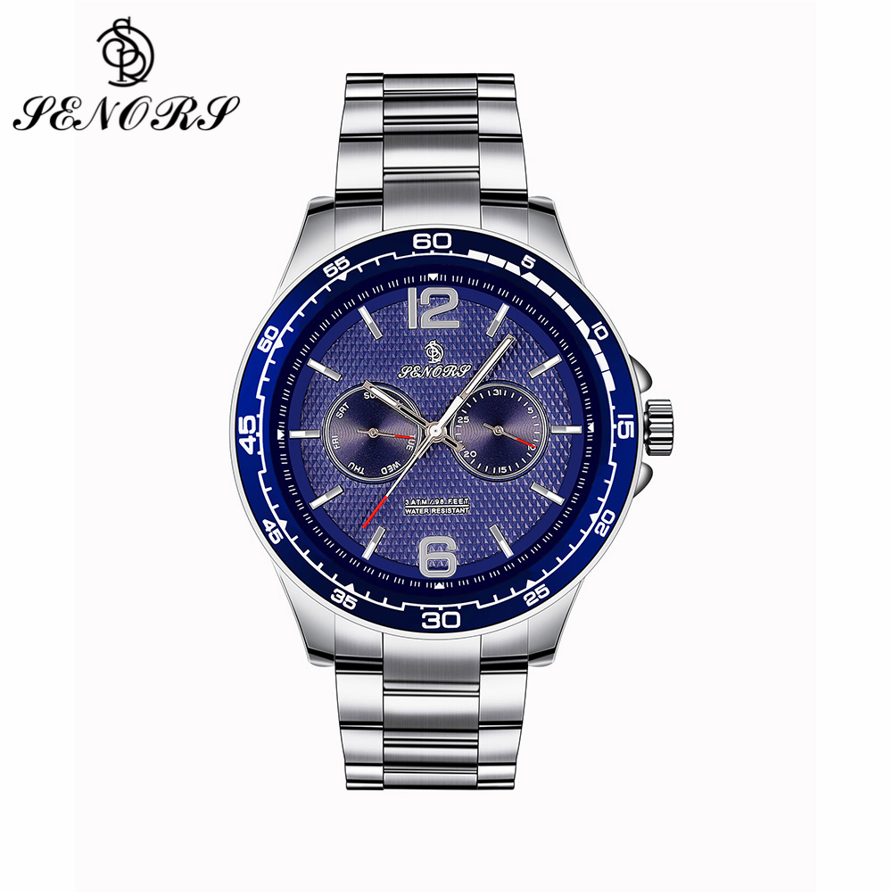 SENORS Brown Blue Black Men Watch Waterproof with Calendar Stainless Steel Bracelet Big Face Heavy Wristwatches Clock Gift SN098 relojes full stainless steel men s sprot watch black and white face vx42 movement