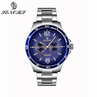 SENORS Big Face Dial Men Quartz Watch with Calendar Stainless Steel Bracelet Blue White Black Waterproof Wristwatches Clock 098