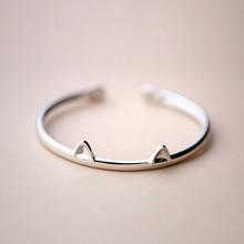 925 Sterling Argent Bracelet & Bracelet Chat Oreille Bracelet Pour Femmes Mode Bijoux Argent D'ouverture de Bracelet Femmes Cadeau En Gros