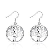 Серьги Серебряные женские в стиле ретро с деревом жизни