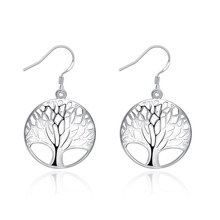free shipping Marked , hot silver plated women Lady retro tree of Life wedding Party earring jewelry best gift E738