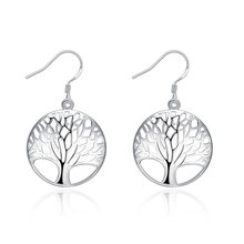 free shipping Marked 925 hot silver color women Lady retro tree of Life wedding Party earring jewelry best gift E738(China)