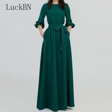 New Spring Autumn Dress Women O-Neck Long Bohemian Style Slim Vestidos Vintage Three Quarter Lantern Sleeve Casual Dresses