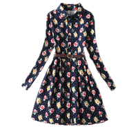 Silm Teenager Girls Party Dress With Blets Christmas Girls Dress Printed Long Sleeve Princess Dress For