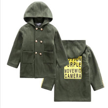 New Gentleman Style Boy Wool Coat Hooded Collar Kids Long Overcoat 2017 High Quality Warm Children Fashion Outwear Jacket 4-15T