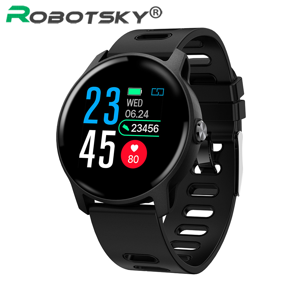Robotsky <font><b>S08</b></font> Smart watch IP68 Waterproof Swimming Sport <font><b>Smartwatch</b></font> Heart Rate Fitness Tracker Men Women Watch For Android IOS image