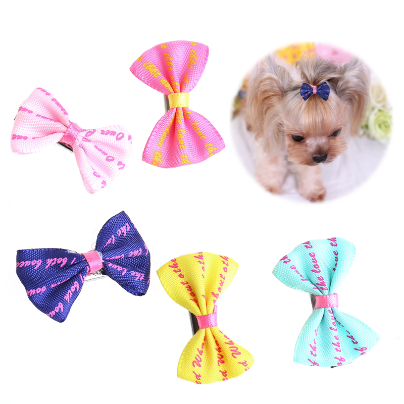 5Pcs Beauty Pet Grooming Accessories Colorful Cat Dog Hair Bows Hair Clips thumbnail
