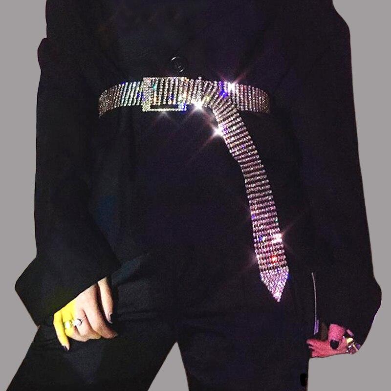 Luxury 10 Rows Full Rhinestone Width 3.5 Cm Waist Belts Women Diamante Crystal Chain Bride Wide Shiny Gold Silver Waist Belt