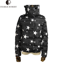 2016 Fashion star and glasses printing Women Cultivate One's Morality Warm Plus Size Winter Jacket And Coats Down Parkas coat