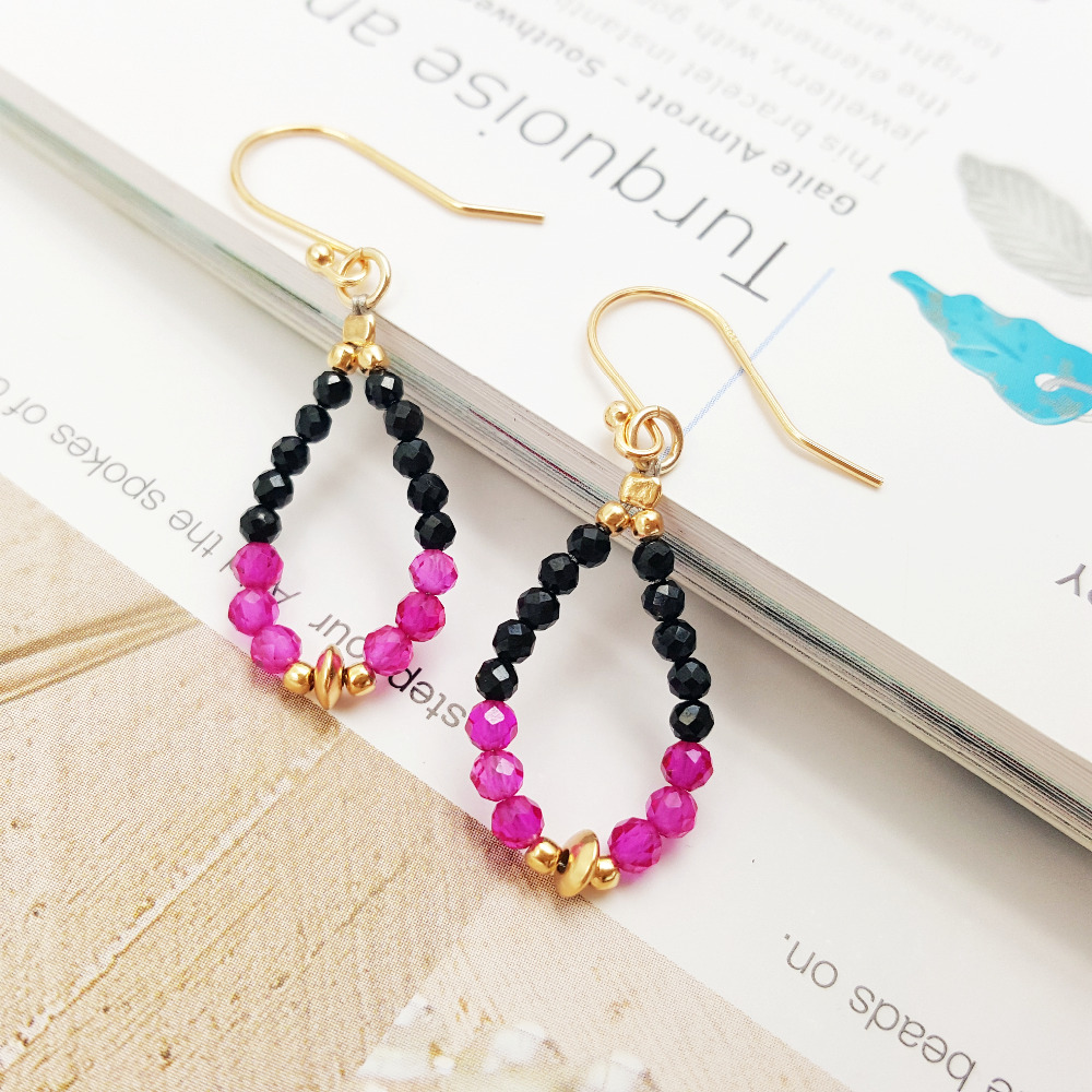 Lii Ji Gemstone Natural Stone Black Spinel,remade Ruby,925 Sterling Silver  Gold Color