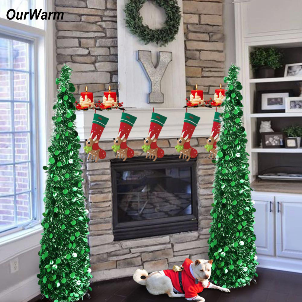 OurWarm Pop Up Christmas Tree Artificial Tinsel Christmas Trees 2018 New Year Christmas Decorations For Home Gold/Silver