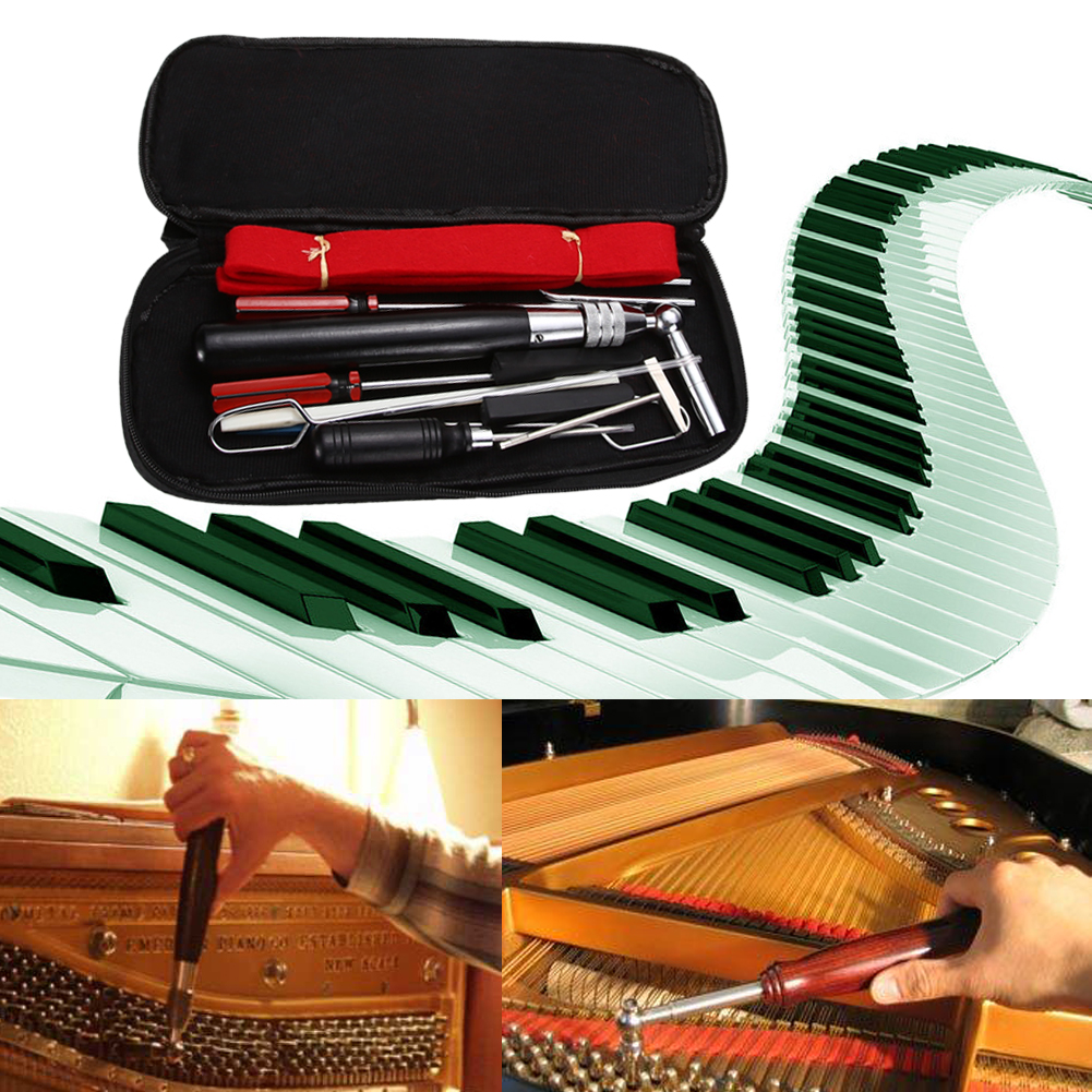 Professional 13 in 1 Piano Tuning Hammer Wool Mute Temperament Strip Awl Tools Kit A Set Tools for Piano Tuning or Repairing 7pcs the piano maintenance tools repair wrench combination sound head over cable piano tuning hammer wool mute temperamen