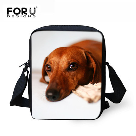 FORUDESIGNS Dachshund Messenger Bag For Kid Boys Girls Small Cross Body Bag Cute Dog Printing Women Men Travel Shoulder Bags forudesigns cute 3d dachshund dog casual shoulder backpack for women men student school bags travel backpacks laptop bag mochila