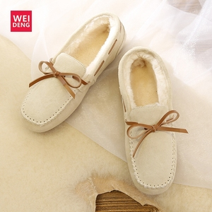 Image 4 - WeiDeng Suede Fur Moccasins Warm Genuine Leather Women Shoes Plush Boat Flats Female Casual Slip On Winter Snow Boots Slipper