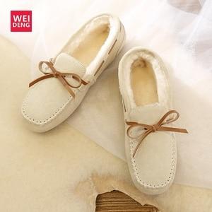 Image 4 - Weideng camurça mocassins de pele quente couro genuíno mulher sapatos de pelúcia barco apartamentos feminino casual deslizamento em botas de neve inverno chinelo