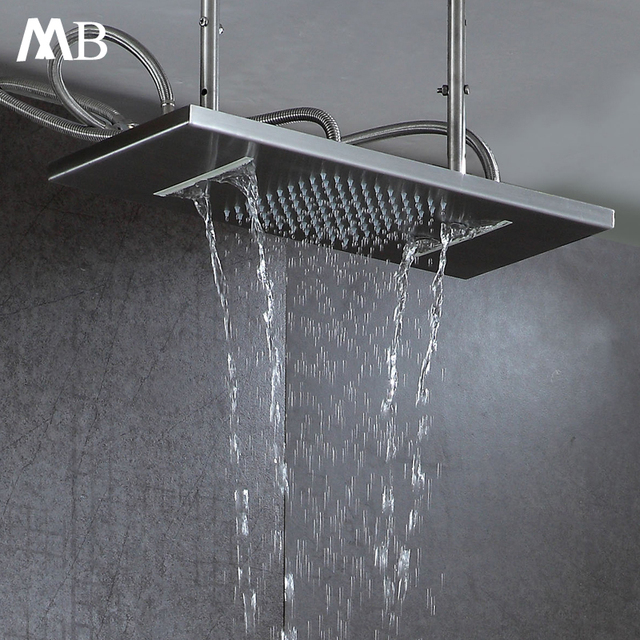 Bathroom Rainfall Waterfall Shower 550*230mm Shower Heads Brushed Finished Ceiling Mounted Rain Showers 304SUS With Shower Arms