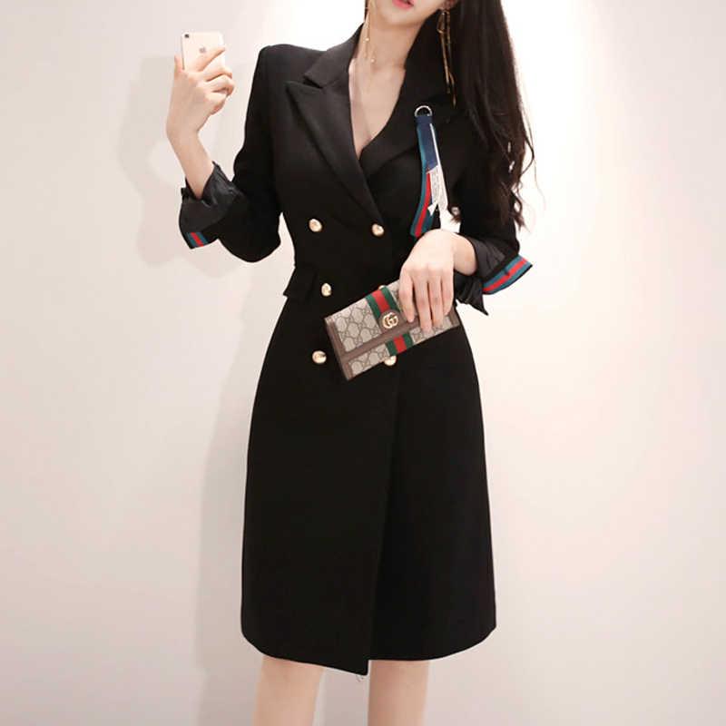 2d20519e6c83 ... 2018 Autumn Knee-Length Double Breasted Women Outwear Notched Black  Office Work Coat Long Blazer ...