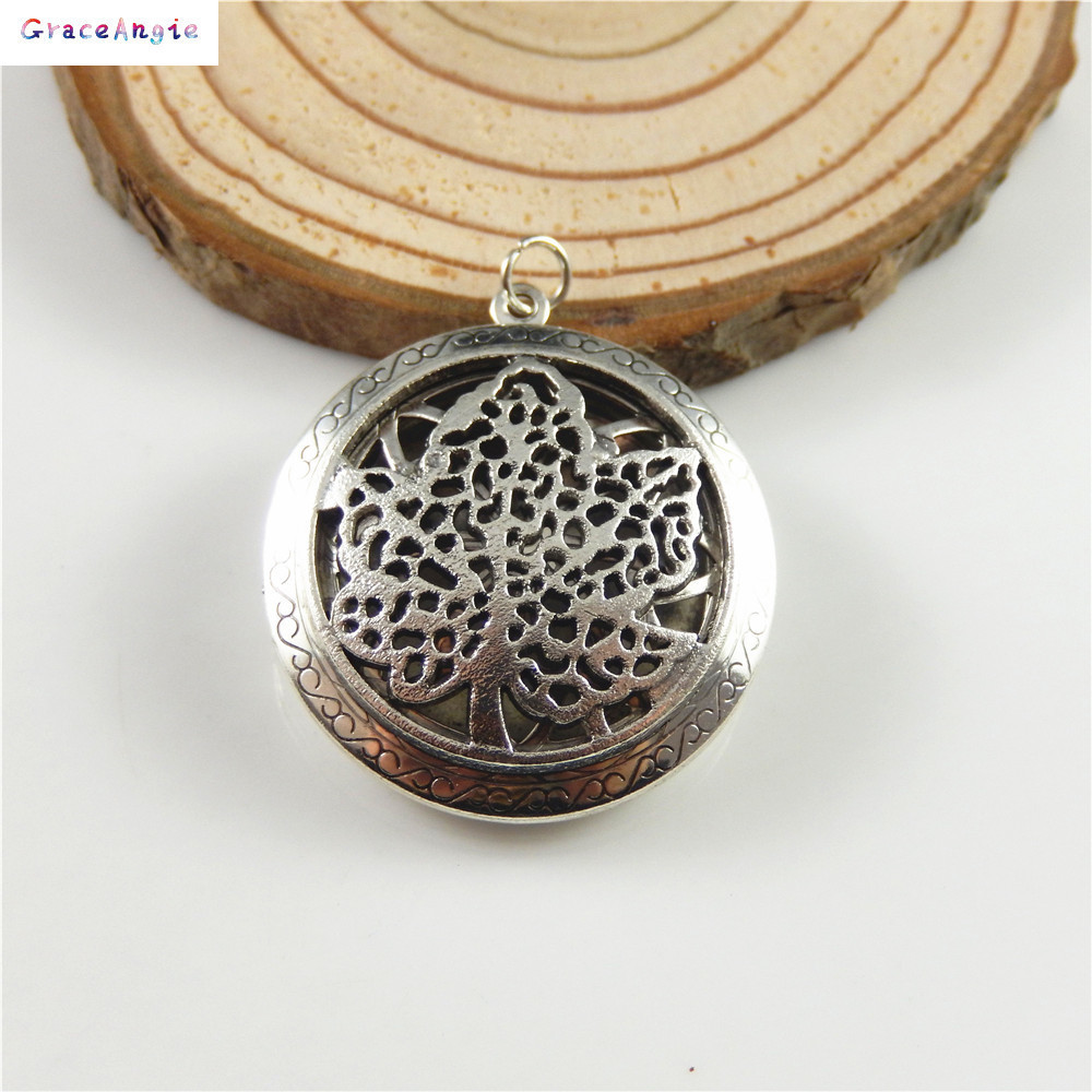Grace Angie 1PCS Circular Wishing Tree Locket Necklace Charms Suspension Crafts Pendant Jewelry Finding Accessory 52778/52778-N locket