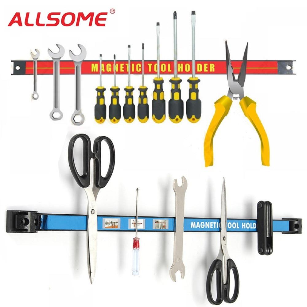 ALLSOME Magnetic Tool Holder Bar Organizer Storage Rack Tool With Strong Magnet Storage For Garage Workshop Metal Tools