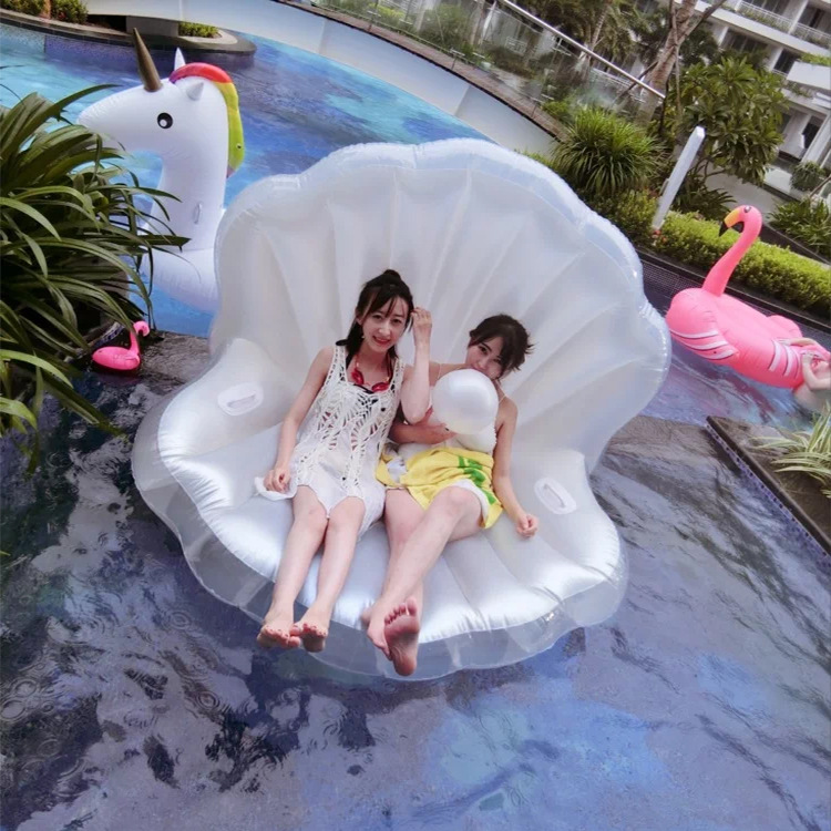 Keangel Adults Giant Pool Float Pearl Scallops Inflatable Shell Floating Mattress Lounger Pearl Ball Floating Beach Chair environmentally friendly pvc inflatable shell water floating row of a variety of swimming pearl shell swimming ring