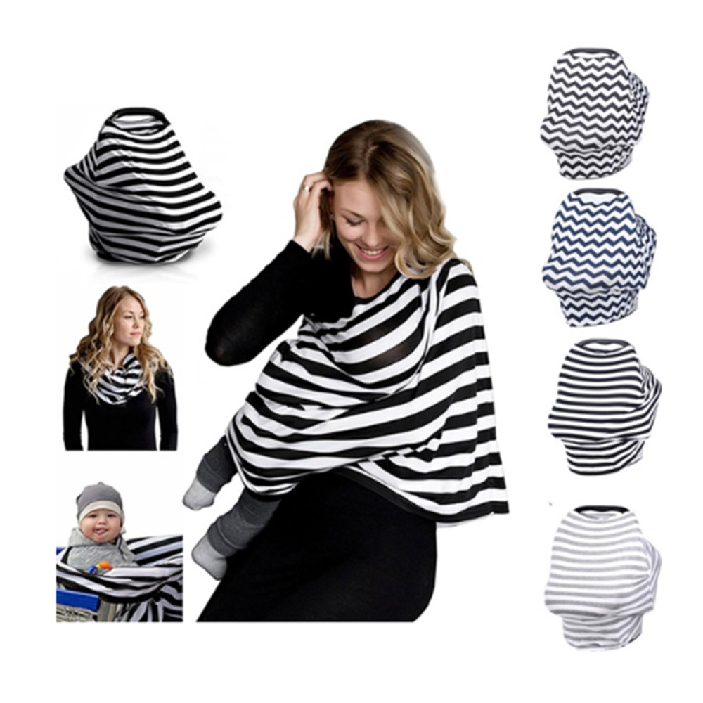 Baby Nursing Cover Car Seat Cover Canopy Multi-Use Stretchy Infinity Scarf Breastfeeding Shopping Cart Cover High Chair Cover