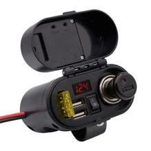 Motorcycle Waterproof Charger Power Socket 5V 3.1A Dual USB Outlet Switch Car LED Digital Display Voltmeter Cigarette Lighter цена в Москве и Питере