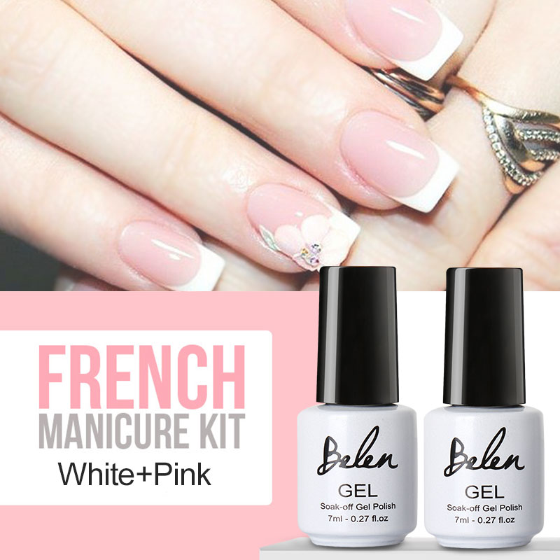 Elite99 7.3ml Nail Gel Polish French Manicure Kit Set Free Tip ...