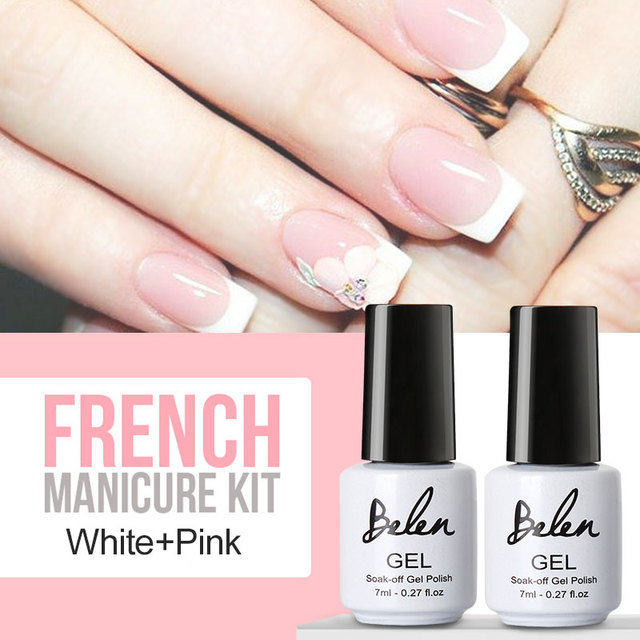 Belen UV Gel Nail Tips Pure Fine Shiny Cover French Manicure Set Brand Style