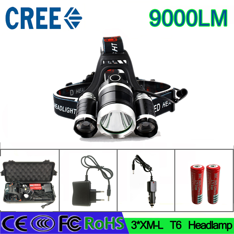 z55 high quality LED headlight 9000LM XM L T6 led Headlamp 9000LM battery car charger box
